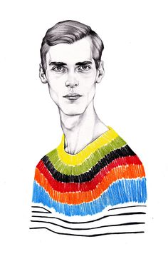 Week Four: 'Prada S/S 2011' - pencil on paper- 2013, I like the contrast in colours and how the hard rough lines are used to create the shape of the sweater. It appears to be rendered quickly by the style of the garment but this is also contrasted by the detailed graphite face.