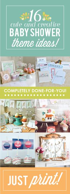 Such cute baby shower theme ideas!  And all you have to do is print- score!