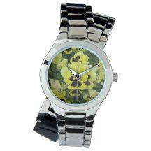 Yellow_Brown_Pansies,_Ladies_Silver_Wrap_Watch. Wrist Watches