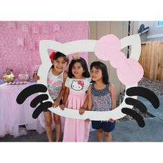 #HelloNiah I made this Hello Kitty Photo Booth Frame for my 5 year old daughter's birthday party, and my guests loved it! I used plywood, cardboard, paint, and hot glue.