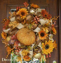 BEADED PUMPKIN Burlap Fall or Thanksgiving Wreath by decoglitz
