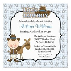 Cute Little Cowboy Baby Shower Invitations