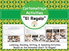 """These listening, reading, writing, and speaking activities accompany the cortometraje """"El Regalo"""" (link included). Similar to MovieTalk, these lessons focus not only on speaking, but on all communicative skills.Students are introduced to 8 key vocabulary words that will help them to talk about the story in Spanish."""