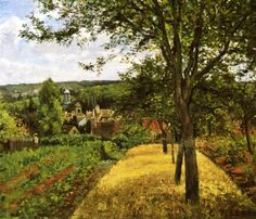 Camille+Pissarro | Orchards at Louveciennes - Camille Pissarro - WikiPaintings.org