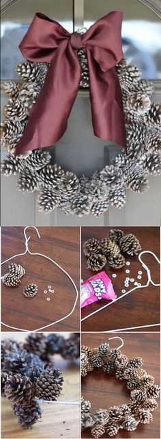 The most amazing Christmas pinecone wreath to decorate you. - Home decoration - DIY Pine Cone Wreath. The most amazing Christmas pinecone wreath to decorate your home for the holi - Festival Diy, Diy Fest, Christmas Pine Cones, Christmas Wreaths, Christmas Ornaments, Christmas Christmas, Pinecone Christmas Crafts, Christmas Movies, Father Christmas
