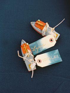 Toy Boat Watercolor Escort Tags | Wendy Laurel | Jeffrey Oltman | Ashley Camper