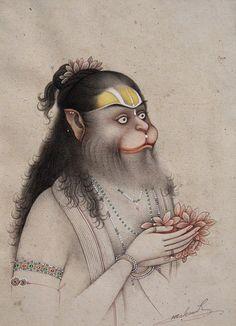 Art by Indian artist Mahavir. Mughal Paintings, Indian Art Paintings, Indian Folk Art, Indian Artist, Hanuman Chalisa, Krishna, Lord Hanuman Wallpapers, Hanuman Images, Mudras