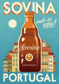The illustration portfolio of Rui Ricardo, a truly versatile artist, popular for his vintage travel illustrations and charming characters. Art Deco Posters, Poster Ads, Travel Illustration, Vintage Travel Posters, Hot Sauce Bottles, Vintage Advertisements, Illustrations Posters, Alcohol, Drinks