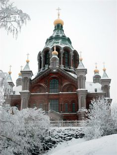 1862-1868~Uspenski Cathedral is an Eastern Orthodox cathedral in Helsinki, Finland, dedicated to the Dormition of the Theotokos. Its name comes from the Old Church Slavonic word uspenie, which denotes the Dormition. Wikipedia. | Assumption winter photographed by Nikolai Taruntaev
