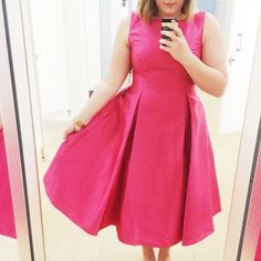 Hot Pink Full Skirt Midi Dress Hot pink satin midi dress with darts on the front to add to the full skirt. Adrianna Papell Dresses Midi
