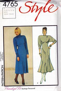 80s Stretch Knit Bat Wing Sleeve Dress Pattern Style 4765 Vintage Sewing Pattern Size 12 14 16 UNCUT Factory Folded