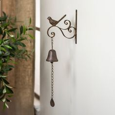 Metal Wall Mounted Bell with Bird Decorative Dinner Call Bell Doorbell Roman Clock, Muebles Shabby Chic, Metal Easel, Home Office Lighting, Metal Clock, Room Decor, Wall Decor, Outdoor Lounge Furniture, Furniture For Small Spaces