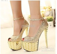 f4ee297be7a2 2013 New Black Gold Rivets Studded Spike Ankle Strap High Heels Pumps Sexy  Platform Heels Shoes