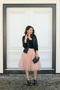 Pink Tutu Ballerina Tulle Skirt, Black Leather Jacket, Black Booties (via Ella Pretty Blog) - The outfit of my springtime dreams!