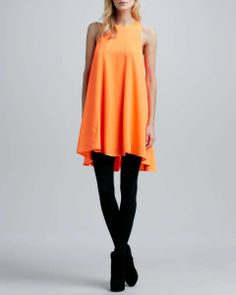 neon orange sleeveless tent dress