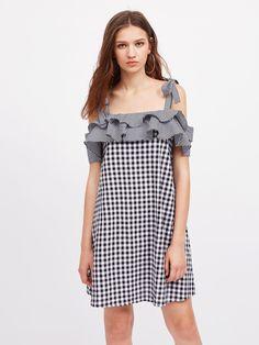 Self Tie Shoulder Layered Frill Mixed Gingham Dress -SheIn(Sheinside)