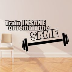 Train insane or remain the same wall sticker decal quote gym fitness w133