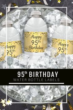 Black And Gold 95th Birthday Party Water Bottle Labels 24 Count