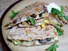 Zucchini, Corn, and Black bean quesadillas. Fast and vegetarian