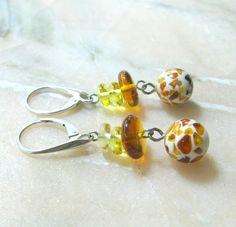 Multi color earrings Natural Amber mosaic dangle by SanaGem