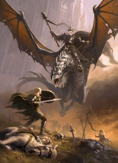Carrion Lord (Eowyn & the Nazgul)   by Craig Spearing
