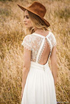 rembo styling 2017 bridal cap sleeves illusion jewel neckline v neck simple bohemian elegant modified a line wedding dress keyhole back sweep train (aimee) zbv