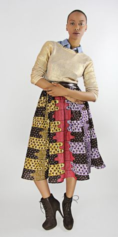 african print midi ~ would personally do a dif top, but love the midiii.