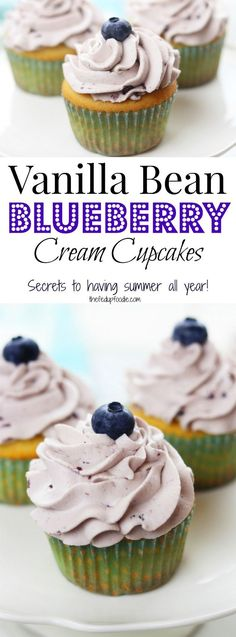 Vanilla Bean Blueberry Cream Cupcakes recipe creates moist and tender homemade cupcakes with the best fluffy blueberry whipped cream frosting. Simple ingredients, these heavenly cupcakes are easy enough to make for an everyday treat but delicious enough for special occasions all throughout the year.  https://www.thefedupfoodie.com