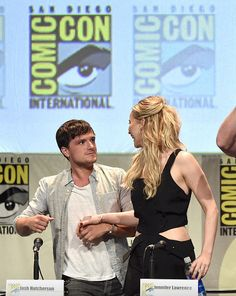 """Josh Hutcherson and Jennifer Lawrence seen at Lionsgate """"The Hunger Games: Mockingjay Part 2"""" Presentation at 2015 Comic Con on Thursday, July 9, 2015, in San Diego."""