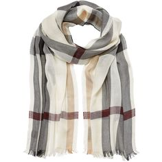 Burberry Shoes & Accessories Silk-Cashmere Check Scarf (410 AUD) ❤ liked on Polyvore featuring accessories, scarves, multicolor, silk wrap shawl, fringed shawls, colorful scarves, cashmere silk scarves and burberry