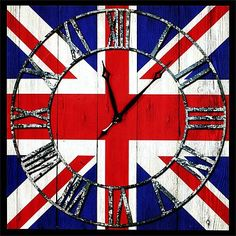 Cool Britannia continues to reign our interior schemes so what better to finish off that room than with this fabulous Union Flag design wall clock. It measures 90 x so larger than the average wall clock. Best Of British, British Things, British Pub, British Style, Union Jack, Diy Canvas, Wall Canvas, Canvas Art, Britain's Got Talent