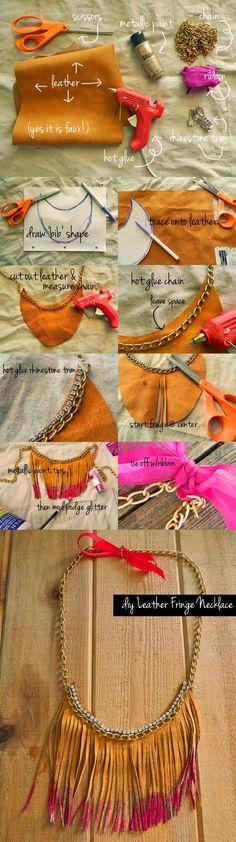 glam leather and rhinestones fringe necklace