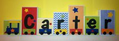 Personalized Wood Blocks - M2M Trains bedding - Baby Room Decor Custom Name Letters - Baby Letter Blocks
