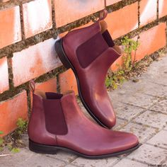 reputable site 4914c ce59f Custom Made Chelsea Boot Classic in Burgundy Painted Calf Leather