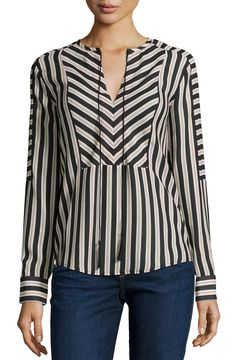 Mairi Long-Sleeve Striped Blouse, Dot Stripe Dark by Rachel Zoe at Neiman Marcus. Kurta Designs, Blouse Designs, Short Tops, Blouse Styles, Dress Patterns, Sleeveless Blouse, Plus Size Fashion, Cool Outfits, Fashion Dresses