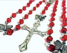 July Birthstone Catholic Rosary. Red Rosary. Ruby Red Rosary. Leo birthstone. Cancer Birthstone. Red Catholic Rosary. July Rosary. July Red