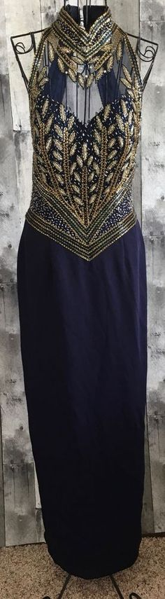 Cache Beaded Gown Dress Navy Blue Gold Bling Bra Sleeveless Pageant Formal 8 #Cache #Gown