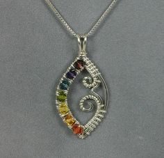 Handmade Wire Wrapped Chakra Pendant in Sterling Silver and Swarovski Crystal