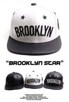 BROOKLYN star leather Snapback Hiphop baseball cap hiphop snapback hat #BROOKLYN #snapback