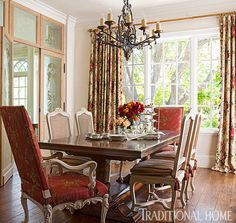 A dining table made from old French wood is the heart of this old-world dining room. - Photo: John Granen / Design: Linda Floyd