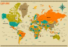 East End Prints - World Map by Jazzberry Blue , £19.95 (http://www.eastendprints.co.uk/world-map-by-jazzberry-blue/)