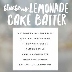 Blueberry Lemonade Cake Batter Juice Plus + Complete Smoothie # Juicingforkids – Juice Recipes Fruit Smoothies, Smoothie Recipes, Juice Recipes, Vitamix Recipes, Shred 10, Juice Plus Complete, Juice Plus+, Fruit Juice, Blueberry Lemonade