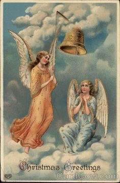 Two angels in the clouds looking at a bell