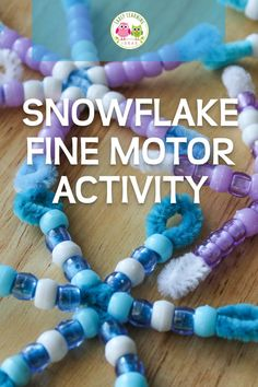 This snowflake craft for kids is a great winter project combining hands-on math learning and fine motor activities. Winter Activities For Kids, Holiday Crafts For Kids, Christmas Activities, Snowflake Craft, Snowflakes, Beaded Snowflake, Winter Art Projects, Winter Project, Early Learning