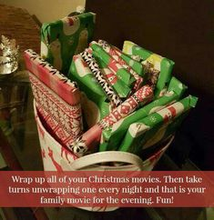 Wrap up all your Christmas movies then take turns opening one each night before Christmas.
