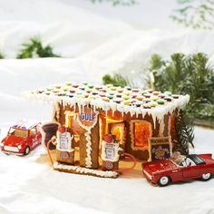 I need a gas station for my gingerbread village! Halloween Gingerbread House, Gingerbread House Parties, Gingerbread Village, Gingerbread Decorations, Gingerbread Cookies, Christmas Decorations, Gingerbread House Template, Christmas Treats, Christmas Cookies