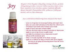 Joy™ is a luxuriously exotic blend with uplifting overtones that create magnetic energy and bring joy to the heart. When worn as cologne or perfume, Joy™ exudes an alluring and irresistible fragrance that inspires romance and togetherness. When diffused, it can be refreshing and uplifting.