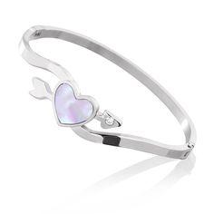 Bransoletka wykonana ze stali szlachetnej. Motywy dekoracyjne serduszko z masy perłowej oraz kryształek. #bracelet #jewelry #jewellery #heart #valentine's