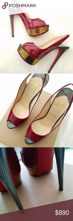 Christian Louboutin Red Bottom Lady Peep Toe Rouge *Excellent Condition *Lady Peep Sling 150 Patent Rouge Speechio *Red Bottom *Red patent Leather *Size 39.5 Christian Louboutin Shoes Heels