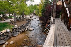 A view of the riverwalk that runs adjacent to downtown Estes Park.